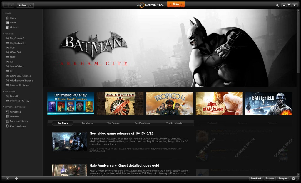 Batman watches over the GameFly PC Client News Screen.
